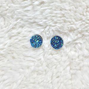NWOT Blue Druzy Earrings